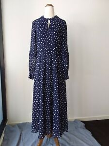 NWT Hobbs Piper Navy Spot Dress Sz 10 RRP$295