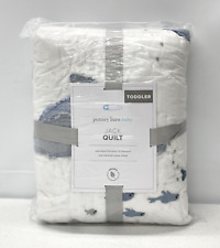 New Pottery Barn Kids Jack Nautical Ocean Whales Toddler Crib Quilt~Blue Multi
