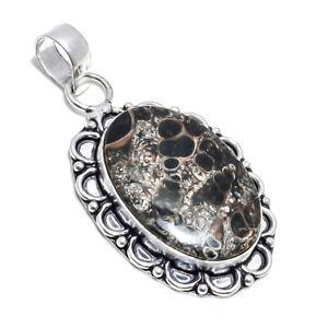Turtella Agate Stone 925 Sterling Silver Ethnic Pendant Jewelry 2.36 Inch 4316