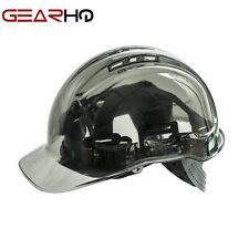 FRONTIER CLEAR VIEW SAFETY VENTED HELMET HARD HAT-JOB SITE APPROVED-SMOKEY GREY