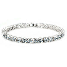 GORGEOUS ITALINA 18K WHITE GOLD PLATED & CLEAR CUBIC ZIRCONIA TENNIS  BRACELET