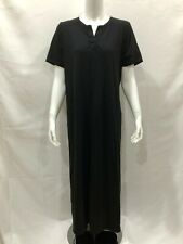 Denim & Co. Essentials Petite Split V-Neck Knit Maxi Dress Black PL Size QVC