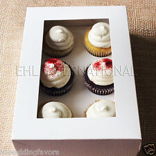 Pack of 3pcs Cupcake Muffin Boxes WHITE W/ Inserts 6 Holes Party favor Bakery