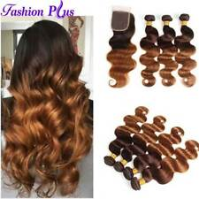 8A Ombre Virgin Human Hair 3Bundles With Closure Body Wave Weft Hair Extensions