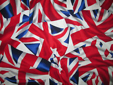 BRITISH UK FLAG WAVY LONDON COTTON FABRIC FQ