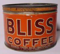 Old Vintage 1950s BLISS COFFEE GRAPHIC COFFEE TIN ONE POUND NEW YORK MADE IN USA