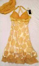 100% LADIES SILK SATIN CHIFFON YELLOW PARTY COCKTAIL EVENING DRESS BUSTY SIZE 8
