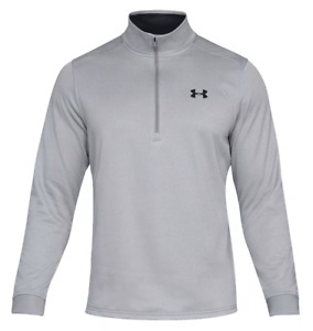 Under Armour Armour Fleece Half-Zip Long-Sleeve Steel+Black Pullover Mens SM NEW