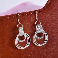 1Pair Fashion Women Three Loop Hoop Dangle Earrings 925 Sterling Silver Jewelry