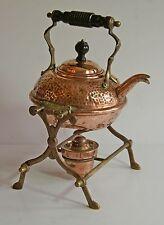Vintage 1l copper & brass spirit kettle stand & burner [no wick] wooden handles