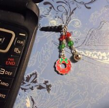 Christmas Wreath Bell Cell Phone Charm~Dust Plug Cover~All Phones+++Free Ship