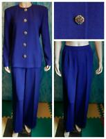St. John Evening Royal Blue Jacket & Pants L 10 12 2pc Suit Rhinestone Buttons