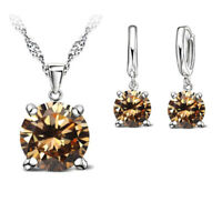 925 Sterling Silver Cubic Zirconia Crystal Necklace & Earrings Set - 9 Colours