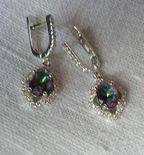 925 Sterling Silber Ohrringe Rainbow Topas u weißer Topas