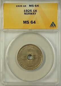 1925 Norway 1K One Krone Coin ANACS MS-64