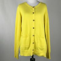 CAbi 3010 Women Belle Yellow Gray Buttoned Sweater Cardigan sz M