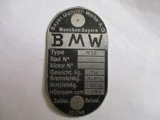 Typenschild BMW R 12 R12 20 PS 162 kg Schild ID plate Wehrmacht WW 2 s26