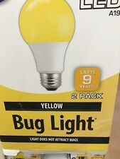 2 BUG light! YELLOW Color LED 60 Watt Equivalent 9W A19 2 FOR 1 Bulbs BONUS SALE