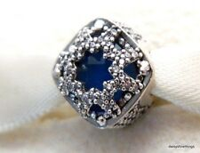 AUTHENTIC PANDORA CHARM, GLACIAL BEAUTY SWISS BLUE CRYSTALS, CLEAR CZ #796360NSB