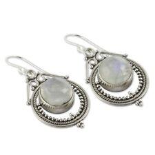 Women Vintage Silver Handmade Retro Moonstone Dangle Hook Earrings Jewelry Gift