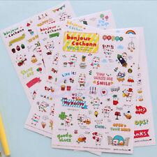 Kawaii 6X Pig Transparent Calendar Diary Book Sticker Scrapbook Decoration FG