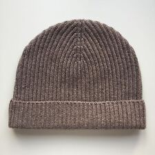 100% Pure Cashmere Biscuit / Light Brown Ribbed Beanie Hat Fisherman Knit