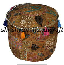 Round Ottoman Pouf Cover Embroidered Patchwork Ethnic Floral Vintage boho Pouffe