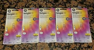 Lot of 5 new GE 20W Halogen T3 Clear G4 Base 12 Volts Bulb 97669 factory sealed