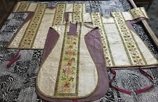 3 Antique French Silk Hand Embroidery Christian Vestment Chasuble 19 C