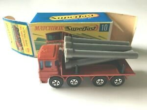 Matchbox Transitional Superfast #10 Pipe Truck Rare Red in Original G Box Lot 79