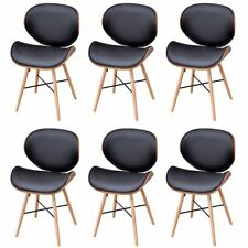 6 Pcs Dining Chairs PU Faux Artitfical Leather Cafe Kitchen Bent Wood Furniture