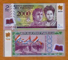 Paraguay 2000 (2,000) Guaranies, 2017 (2018), POLYMER P-228-New D-Prefix, UNC