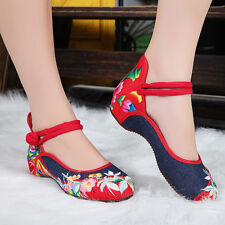 Chinese Flower Embroidered Shoes Women Lady Floral Mary Jane Ballet Dance Loafer