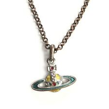 Vivienne Westwood Orb Yellow Green Pendant Necklace Silver