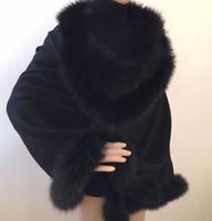 Pure Cashmere Cape with Fox trim, Supreme quality fur (BLACK) RRP GBP 360