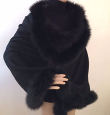 Pure Cashmere Cape with Fox trim, Supreme quality fur (BLACK) RRP GBP 360!!!