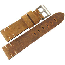 22mm ColaReb Italy Perugia Rust Brown Distressed Leather Mens Watch Band Strap