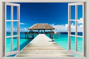 sea Tree Beach 3D Window View Removable Wall Art Sticker Vinyl Decal Decor Mural