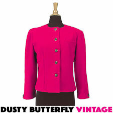 VINTAGE RED WOOL JACKET Shoulder Pads CROPPED Brass Buttons STRAWBERRY Sz M 8