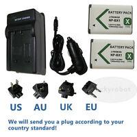 2pcs NP-BX1 Battery+charger for Sony DSC-HX90V DSC- RX1 HX50 HX60 HX300 WX305