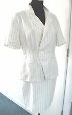 Vintage Ladies 2 Piece Skirt Jacket Cream Colour Brown Stripes UK10/12
