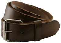 Seris Genuine Leather Casual Belt w/ Roller Buckle Black Brown Tan White 1-1/2""