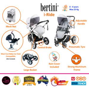 USED Bertini Aluminum Dual Facing Newborn Toddler Baby Stroller Pram Rain Cover