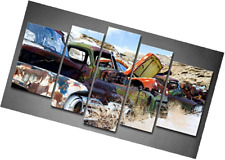 5 Panel Wall Art Old Classic And Vintage Cars At Rural Junkyard In Winter Painti