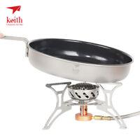 Keith Titanium Non-stick Pan Ultralight Camping Frying Pan with Folding Handle