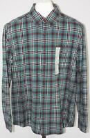 St. Johns Bay Mens Green Plaid Button Down Long Sleeve Flannel Shirt Size Medium