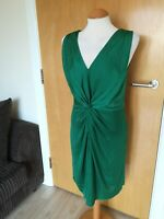 Ladies PHASE EIGHT Dress Size 10 Green Ruched Smart Party Evening
