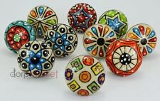 Dorpmarket 10 Pieces Set Dotted Ceramic Cabinet Colorful Knobs Furniture Handle
