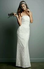 David's Bridal Galina Beaded Lace Gown with Empire Waist Size 4