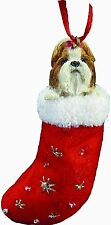 Shih Tzu Tan & Wh Long Hair in Stocking Christmas Ornament-Santa's Little Pals-